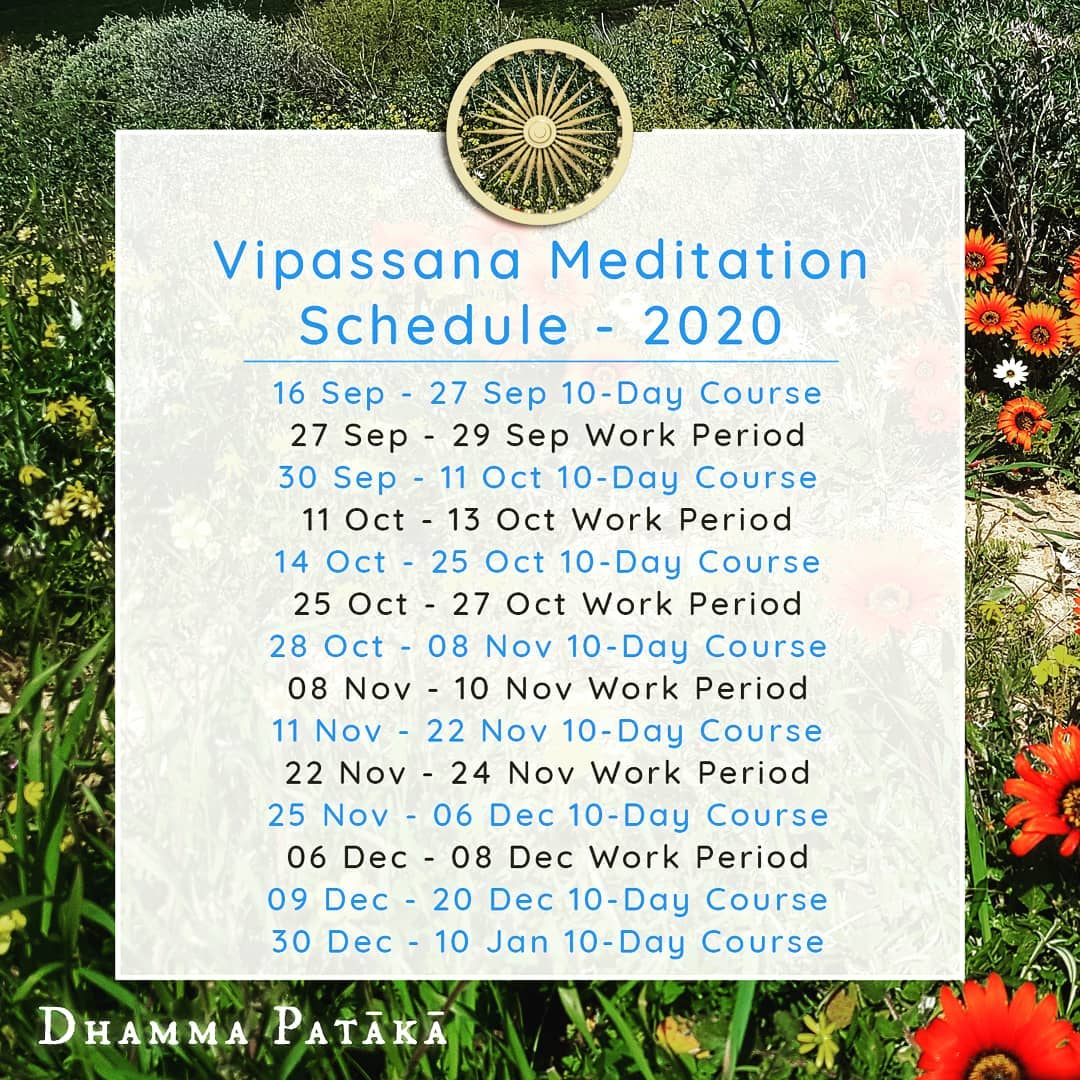South Africa Vipassana Schedule